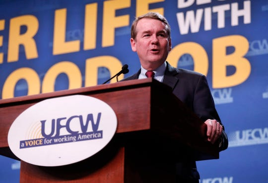 Democratic presidential candidate hopeful Michael Bennet speaks during the UFCW Forum on Sunday, Oct. 13, 2019, at Prairie Meadows Hotel in Altoona, Iowa.