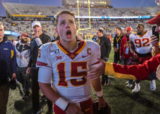 Oct 12, 2019; Morgantown, WV, USA; Iowa State Cyclones quarterback Brock Purdy (15) celebrates after beating the West Virginia Mountaineers at Mountaineer Field at Milan Puskar Stadium. Mandatory Credit: Ben Queen-USA TODAY Sports
