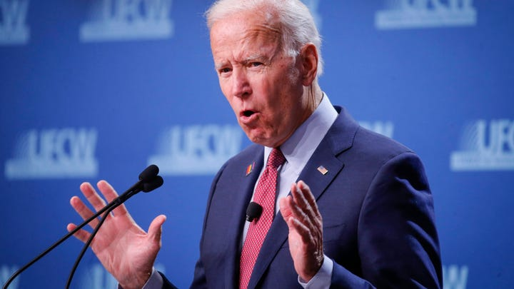 Former Vice President and current democratic presidential candidate hopeful Joe Biden speaks during the UFCW Forum on Sunday, Oct. 13, 2019, at Prairie Meadows Hotel in Altoona, Iowa.