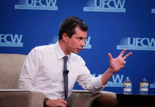Democratic presidential candidate hopeful Pete Buttigieg speaks during the UFCW Forum on Sunday, Oct. 13, 2019, at Prairie Meadows Hotel in Altoona, Iowa.