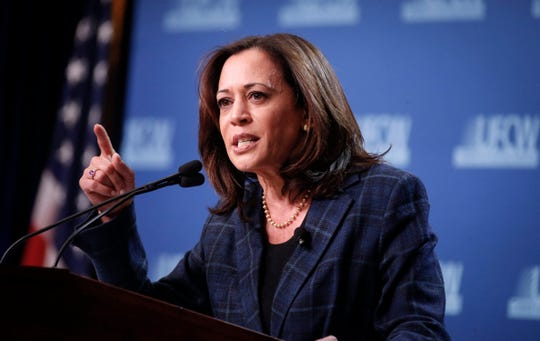 Democratic presidential candidate hopeful Kamala Harris speaks during the UFCW Forum on Sunday, Oct. 13, 2019, at Prairie Meadows Hotel in Altoona, Iowa.