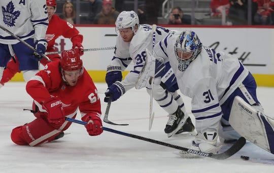 Jacob de la Rose scores against Maple Leafs goaltender Frederik Andersen during the first period Saturday.
