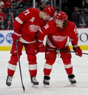 Detroit Red Wings' Dylan Larkin, left, and Tyler Bertuzzi talk during action against the Toronto Maple Leafs, Saturday, Oct.12, 2019 at Little Caesars Arena.