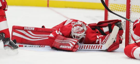 Jimmy Howard defends against the Maple Leafs during the second period Saturday at Little Caesars Arena.