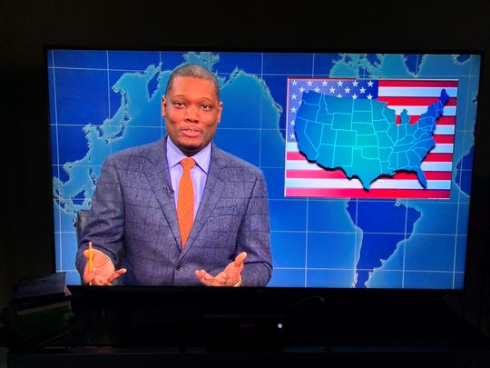 "A screenshot TV showing Michael Che from ""Weekend Update' on ""Saturday Night Live"" Oct. 12, 2019."
