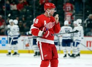 Justin Abdelkader skates to the bench during the Red Wings' game against the Maple Leafs on Saturday night.