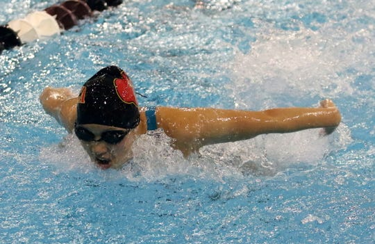 Willa Royce-Roll of Ithaca competes in the 200 IM at the Dr. Jack Thomas Girls Swimming and Diving Invitational at Ernie Davis Academy on Oct. 12, 2019.