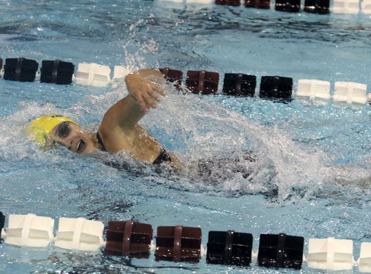 Lansing's Grace Kadlecik swims to a win in the 200 freestyle at the Dr. Jack Thomas Girls Swimming and Diving Invitational at Ernie Davis Academy on Oct. 12, 2019.