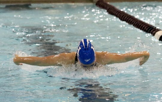 Sophia Verkleeren of Horseheads swims to a win in the 100 butterfly in the Dr. Jack Thomas Girls Swimming and Diving Invitational at Ernie Davis Academy on Oct. 12, 2019.