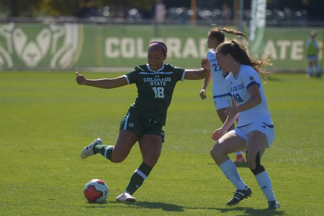 Colorado State soccer player Kendra Gipson cuts past a defender during a game against San Jose State on Sunday, Oct. 13, 2019. The Rams won 2-1.