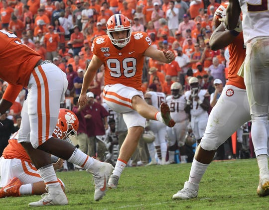 Clemson kicker Steven Sawicki (98) kicks an extra point during the third quarter at Memorial Stadium in Clemson, South Carolina Saturday, October 12, 2019.