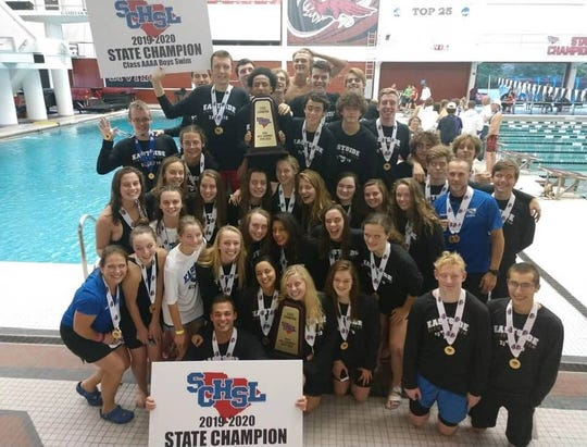 The Eastside boys and girls swimming teams celebrate their combined Class AAAA state championship from USC Natatorium in Columbia Staurday