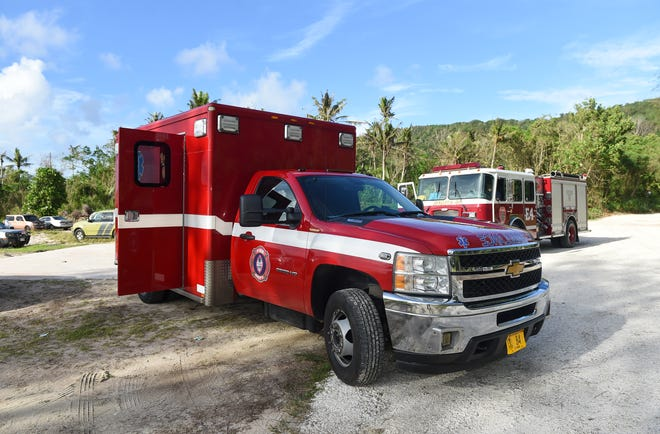 Guam Fire Department units responded to two injured swimmers at Tanguisson Beach in Dededo, Oct. 13, 2019.
