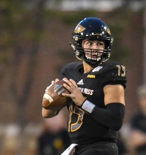 Southern Miss quarterback Jack Abraham (15) looks to make a pass during the game against North Texas Saturday, Oct. 12, 2019.