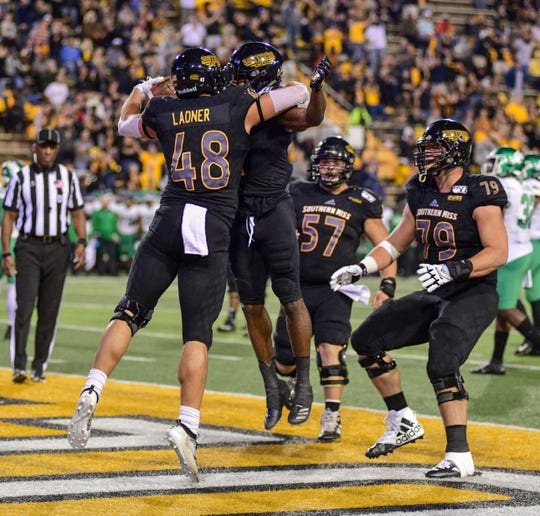Southern Miss tight end Ray Ladner (48) celebrates after scoring a touchdown against North Texas Saturday, Oct. 12, 2019.