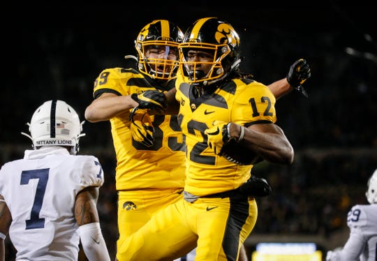 Iowa receivers Brandon Smith (after scoring his touchdown against Penn State) and Nico Ragaini each have 24 receptions this season, tied for the team lead with Ihmir Smith-Marsette.