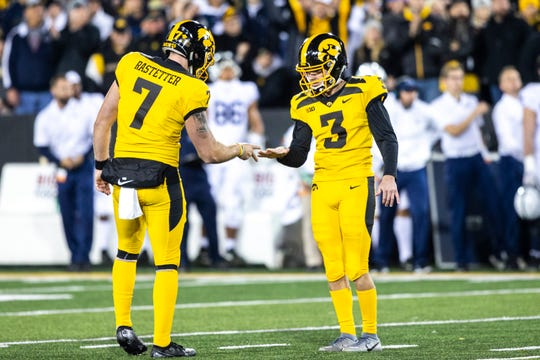 Junior kicker Keith Duncan (3) has converted 22 of 25 field-goal attempts this season and has made a routine out of playing rock-paper-scissors with holder Colten Rastetter after makes.