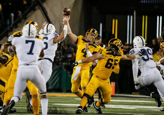 Nate Stanley has completed 48 of 85 passes over the past two games for 546 yards but those numbers have largely been meaningless. Iowa has gone 0-2 despite holding Michigan and Penn State to a combined 27 points.