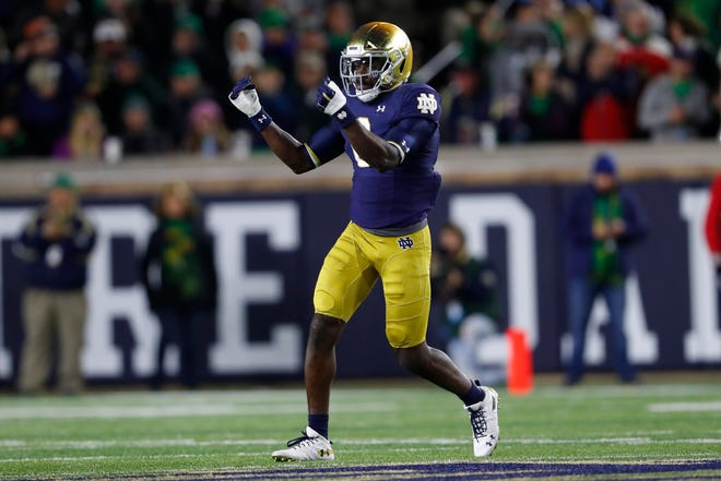 Notre Dame linebacker Jeremiah Owusu-Koramoah is a player who 'breaks the mold' according to former college coach. [Paul Sancya/Associated Press]