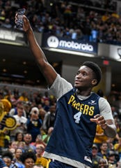 Indiana Pacers guard Victor Oladipo (4) takes a live video on his phone during Pacers FanJam on Sunday, Oct. 13, 2019 at Bankers Life Fieldhouse. The family fun event is held to kick off the 2019-2020 season and features a scrimmage between the Pacers team.