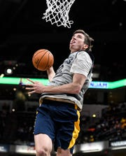 Indiana Pacers forward T.J. Leaf (22) dunks during Pacers FanJam on Sunday, Oct. 13, 2019 at Bankers Life Fieldhouse. The family fun event is held to kick off the 2019-2020 season and features a scrimmage between the Pacers team.