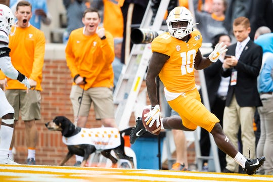 Tennessee wide receiver Tyler Byrd (10) sprints through the end zone after scoring a touchdown in the fourth quarter of the Volunteers' SEC matchup against Mississippi State at Neyland Stadium in Knoxville on Saturday, Oct. 12, 2019.