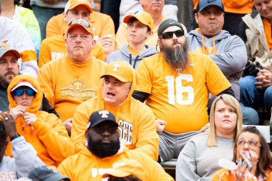 Tennessee fans sit stoically after Mississippi State wide receiver Deddrick Thomas (2) caught a touchdown pass in the fourth quarter of the Bulldogs' SEC matchup against Tennesseee at Neyland Stadium in Knoxville on Saturday, Oct. 12, 2019.
