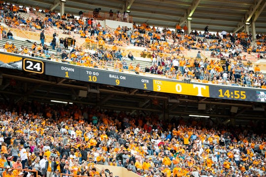 Tennessee fans pack Neyland Stadium in Knoxville at kickoff of the Volunteers' SEC matchup with Mississippi State on Saturday, Oct. 12, 20019.