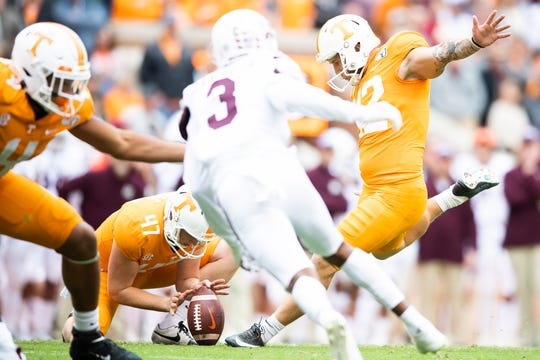 Tennessee kicker Brent Cimaglia (42) kicks a field goal in the third quarter to extend the Volunteers' lead in an SEC matchup against Mississippi State at Neyland Stadium in Knoxville on Saturday, Oct. 12, 2019.