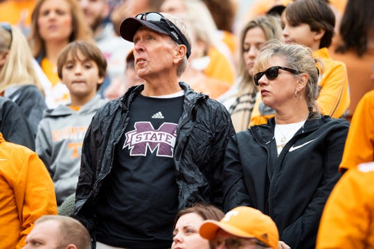 Mississippi fans look on after running back Tim Jordan scored a touchdown during the first quarter at Neyland Stadium in Knoxville during the Volunteers' SEC matchup against Mississippi State on Saturday, Oct. 12, 2019.