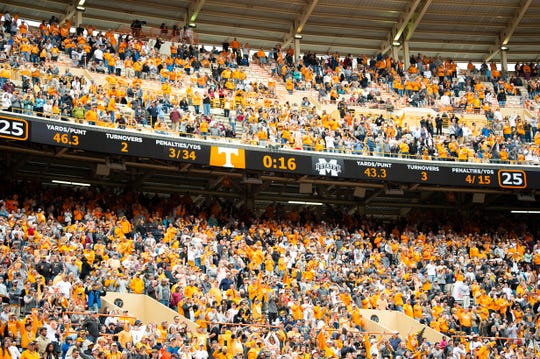 Tennessee fans remain in force in Neyland Stadium in Knoxville in the closing seconds of the Volunteers' SEC matchup against Mississippi State on Saturday, Oct. 12, 2019.
