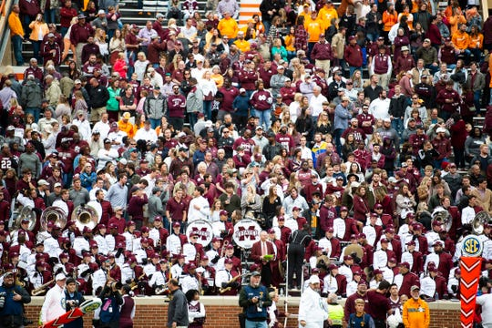 Mississippi State fans stand dejected in Neyland Stadium in Knoxville in the closing seconds of the Bulldogs' SEC matchup against Tennessee on Saturday, Oct. 12, 2019.