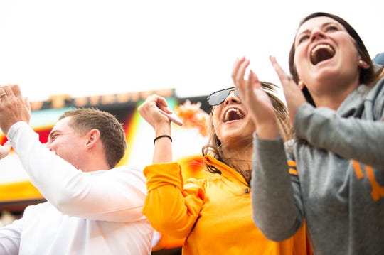 Tennessee fans clap after wide receiver Tyler Byrd caught a touchdown pass in the fourth quarter of the Volunteers' SEC matchup against Mississippi State at Neyland Stadium in Knoxville on Saturday, Oct. 12, 2019.
