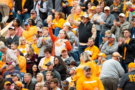 Tennessee fans celebrate after the Volunteers kicked a field goal near the end of the second quarter at Neyland Stadium in Knoxville during the Volunteers' SEC matchup against Mississippi State on Saturday, Oct. 12, 2019.