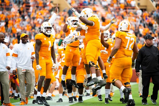 Tennessee players celebrate after wide receiver Tyler Byrd caught a touchdown pass in the fourth quarter of the Volunteers' SEC matchup against Mississippi State at Neyland Stadium in Knoxville on Saturday, Oct. 12, 2019.