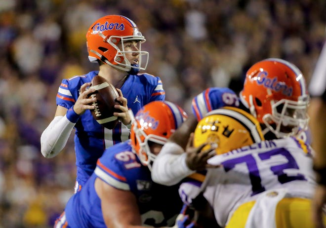Florida quarterback Kyle Trask looks to throw against LSU during last year's game at Tiger Stadium in Baton Rouge.