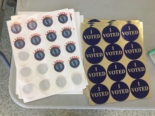 Voting stickers at Lafayette High School being used up
