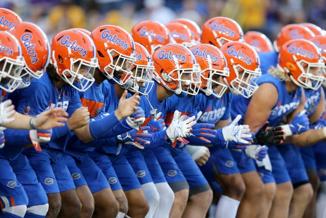 Oct 12, 2019; Baton Rouge, LA, USA; The Florida Gators warm up before their game against the LSU Tigers at Tiger Stadium. Mandatory Credit: Chuck Cook-USA TODAY Sports