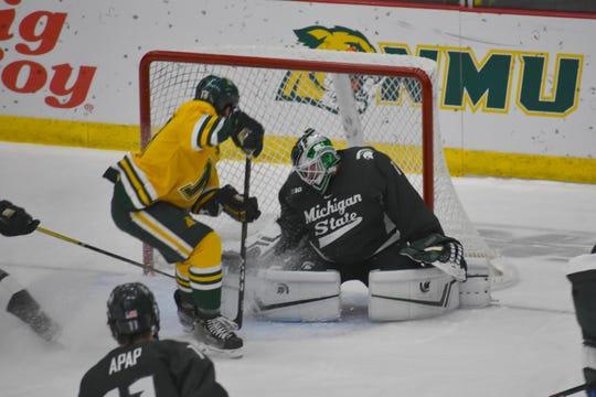 Michigan State goaltender Drew DeRidder had 14 saves in the Spartans' 2-1 win over the USNTDP U-18 team Friday.