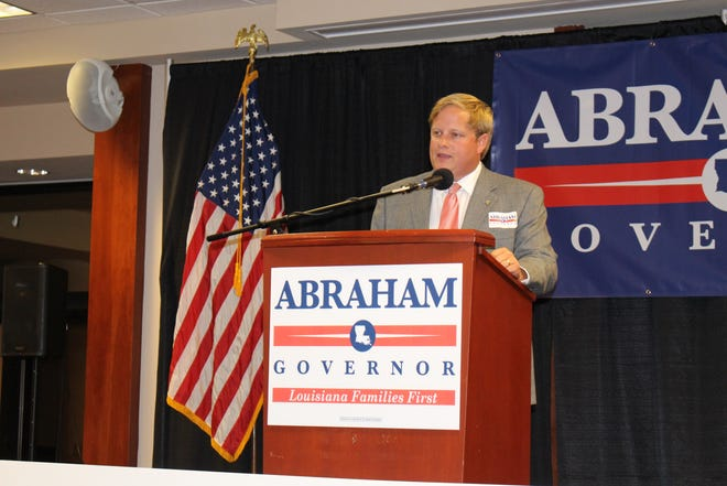 Scott Franklin introduces Ralph Abraham at the end of his watch party.