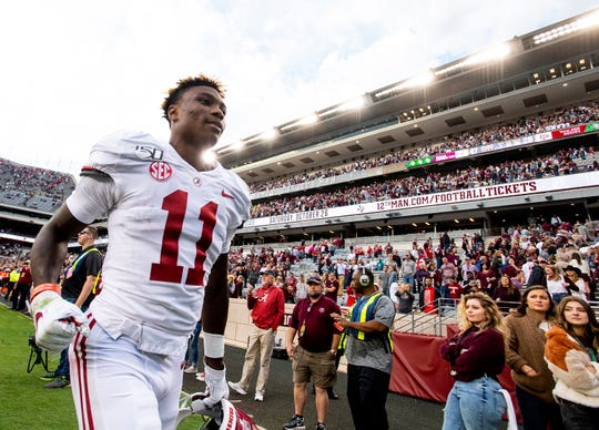 Alabama wide receiver Henry Ruggs, III, (11) runs off of the field after defeating Texas A&M at Kyle Field in College Station, Texas on Saturday October 12, 2019.