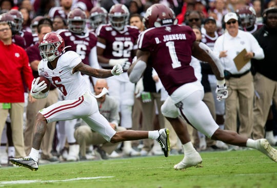 Alabama wide receiver DeVonta Smith (6) against Texas A&M at Kyle Field in College Station, Texas on Saturday October 12, 2019.