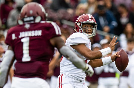 Alabama quarterback Tua Tagovailoa (13) passes against Texas A&M at Kyle Field in College Station, Texas on Saturday October 12, 2019.