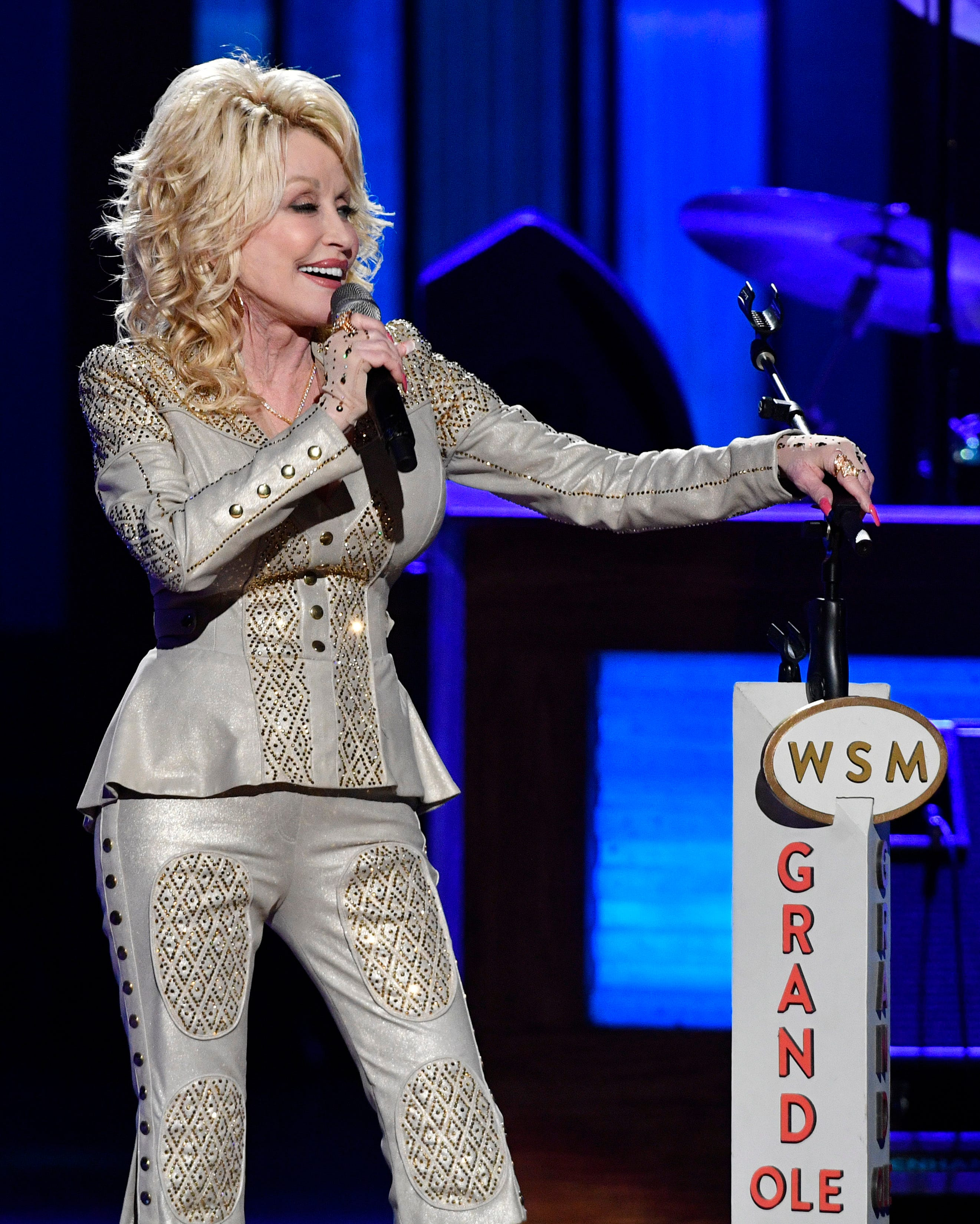 Dolly Parton performs at her 50th Opry Member Anniversary at the Grand Ole OprySaturday, Oct. 12, 2019, in Nashville, Tenn.