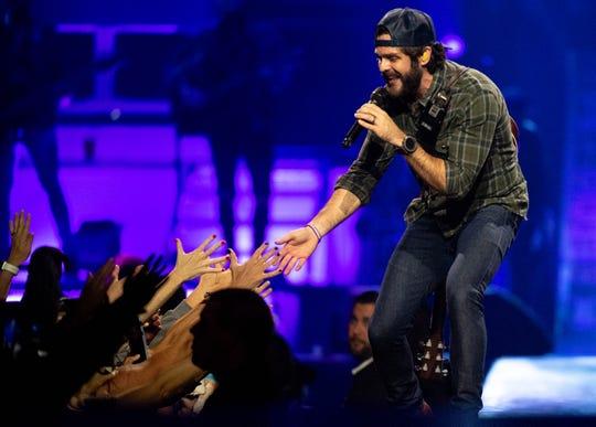 Thomas Rhett performs during his Very Hot Summer Tour at Bridgestone Arena Saturday, Oct. 12, 2019, in Nashville, Tenn.