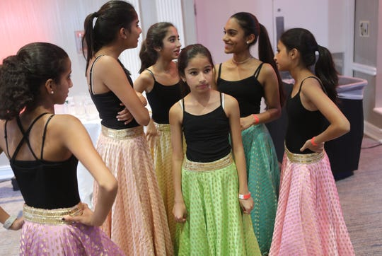 Dancers from Ridgewood, are shown before performing at a Diwali celebration in Mahwah, Sunday, October 13, 2019.