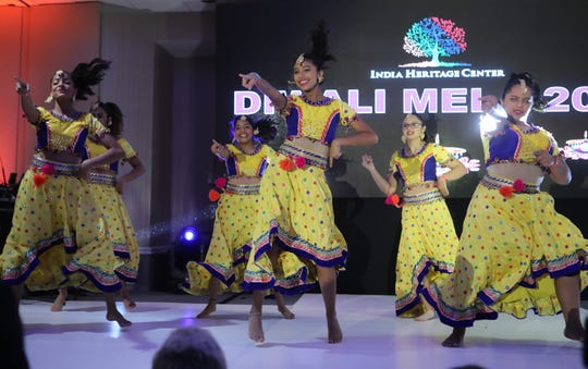 Members of AUM Dance Creations, from Cedar Grove, perform at a Diwali celebration in Mahwah, Sunday, October 13, 2019.