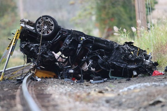 A vehicle, believed to be traveling on Rt. 304, ended up on the train tracks below, near West Crooked Hill Rd.  in Pearl River, NY, Sunday, October 13, 2019.