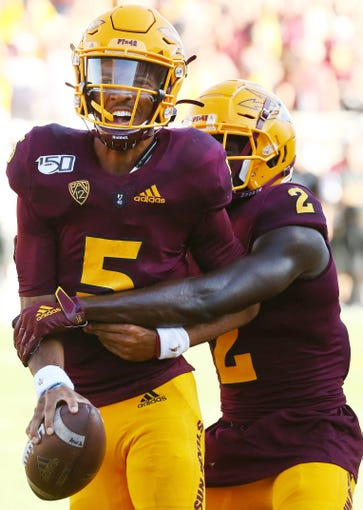 Arizona State Sun Devils quarterback Jayden Daniels (5) reacts scoring the run winning touchdown against the Washington State Cougars in the second half during a game on Oct. 12, 2019 in Tempe, Ariz.