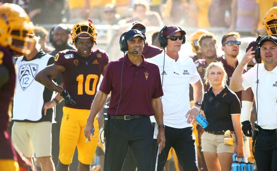 Arizona State Sun Devils head coach Herm Edwards against the Washington State Cougars in the second half during a game on Oct. 12, 2019 in Tempe, Ariz.